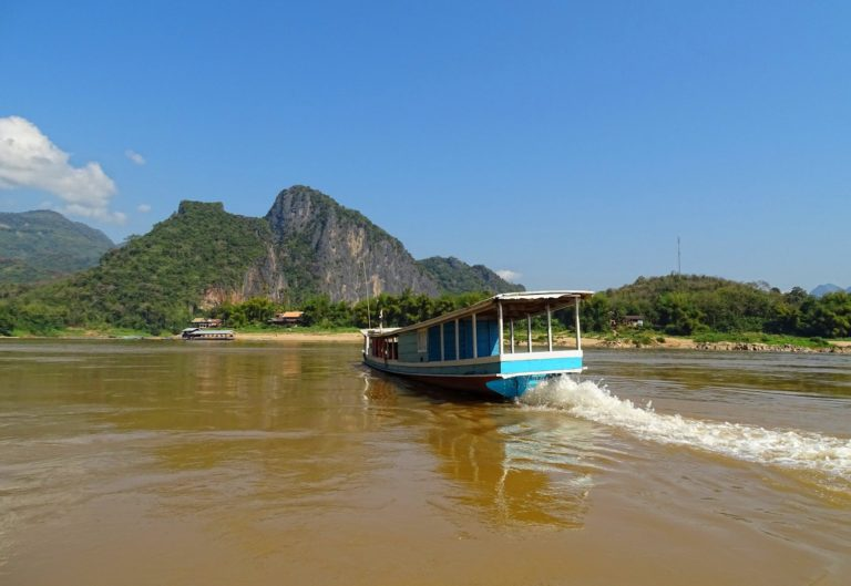 Tourist boat on the Mekong river