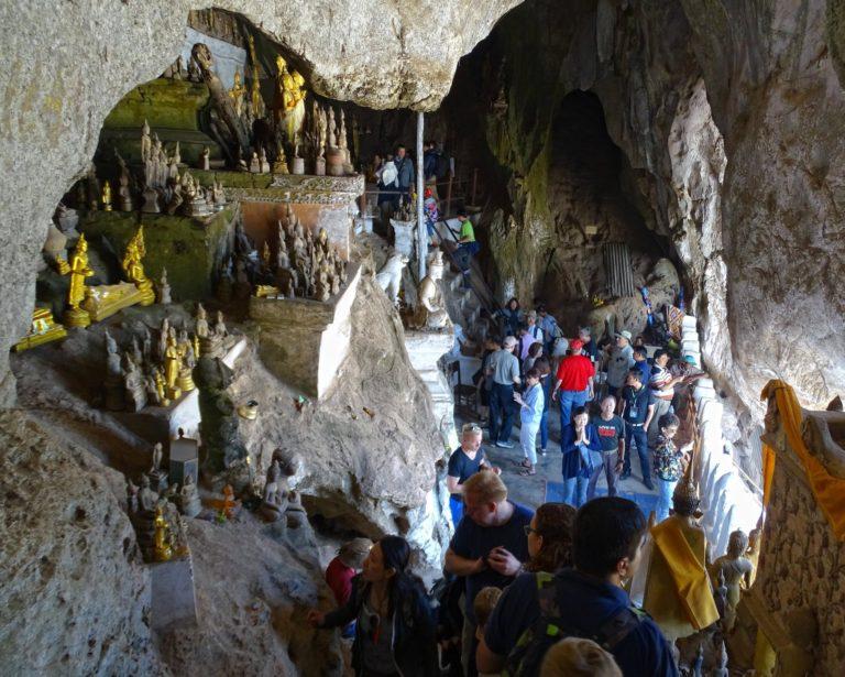 Crowded inside Pak Ou Caves