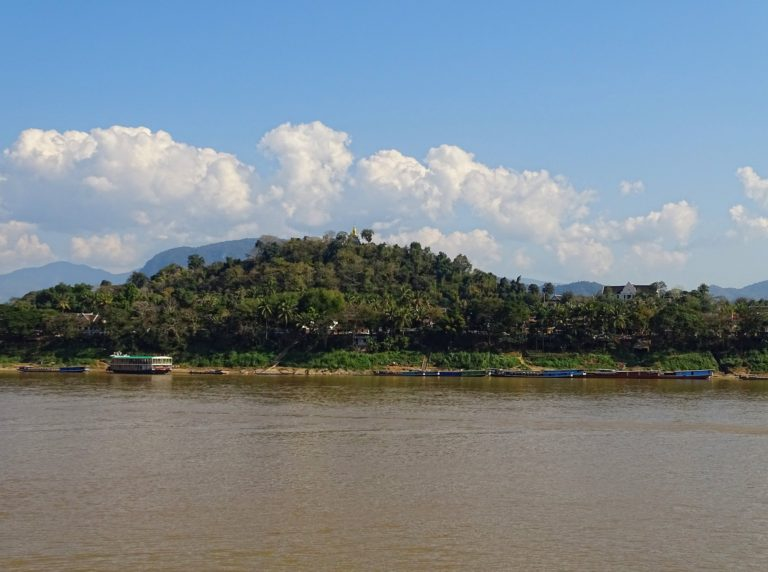 Mount Phousi seen from the other side of the Mekong river