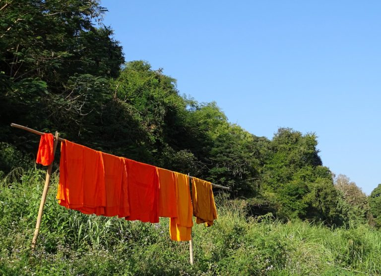 Photo of monks orange laundry