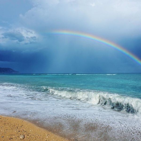 Rough weather with rainbow in Altea on Spain's Costa Blanca.