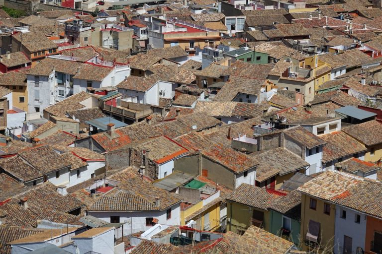 The old town roofs in Xativa, Spain.