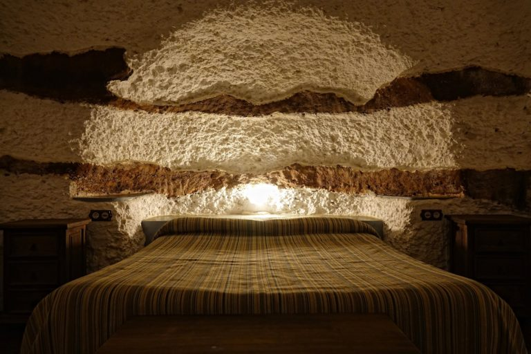 Bedroom in cave in Guadix, Spain.