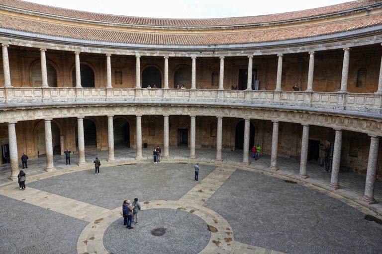 A courtyard in Alhambra, Granada, Spain.
