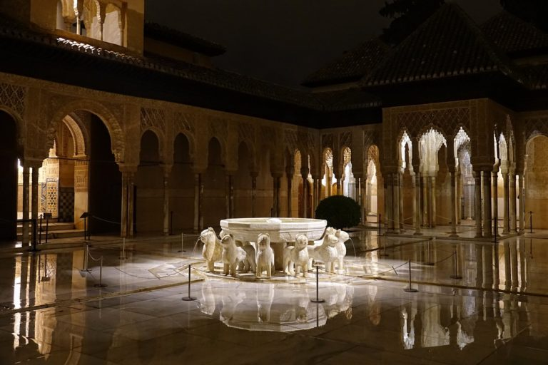 The Lion Fountain in Alhambra, Granada, Spain.