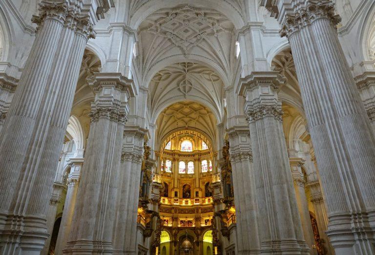 Massive columns inside the Granada Cathedral.