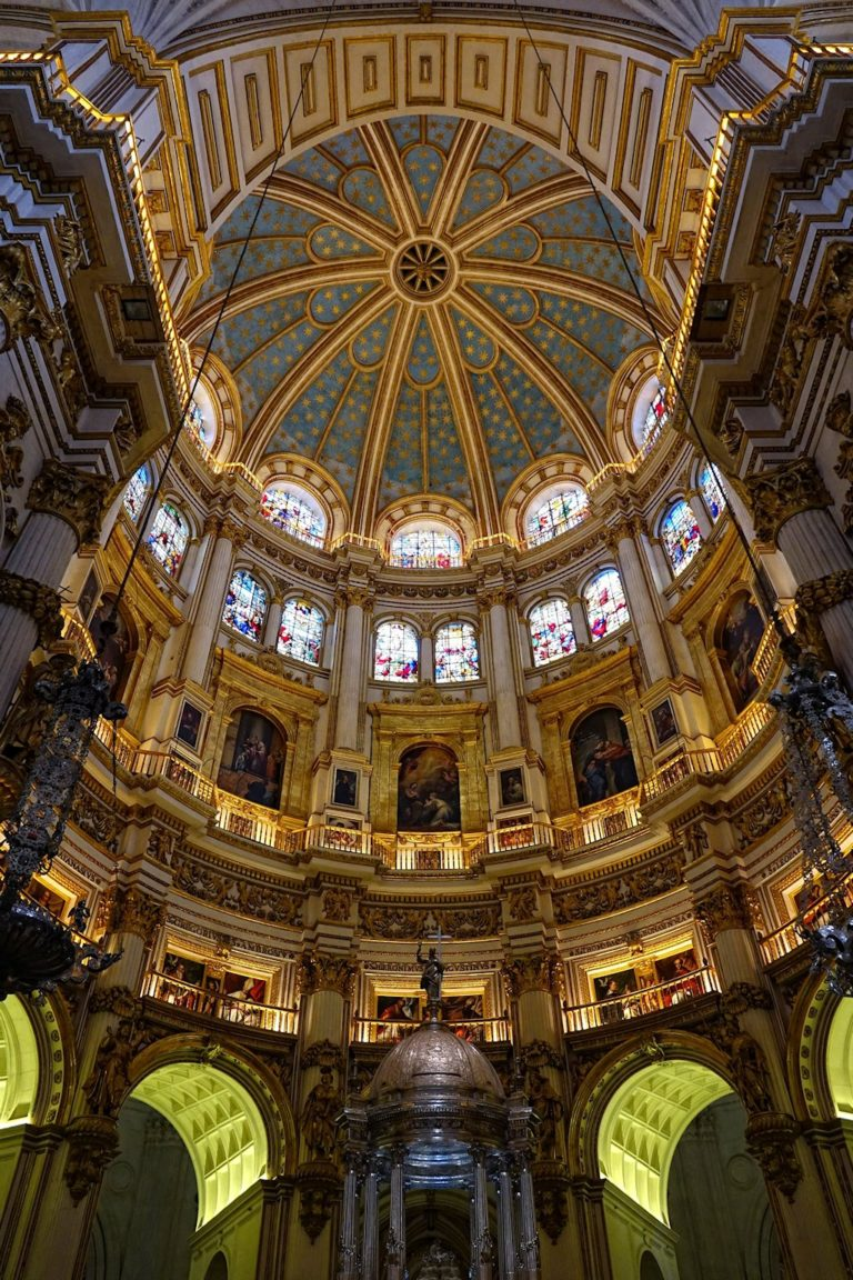 Granada Cathedral stands tall, with plenty of artwork.
