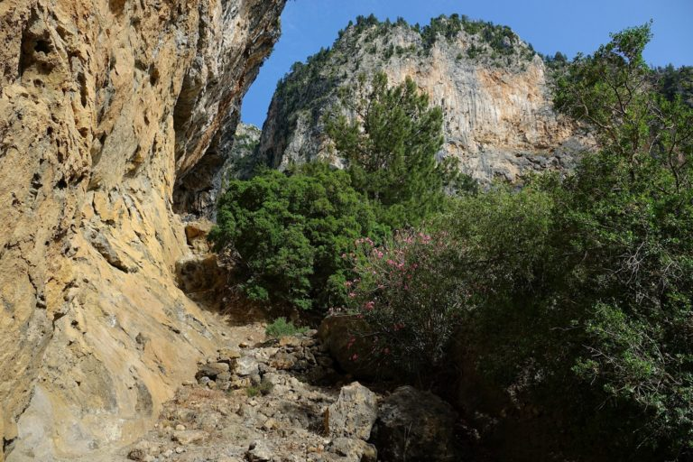 Photo of steep trail on the Lycian Way, Turkey.