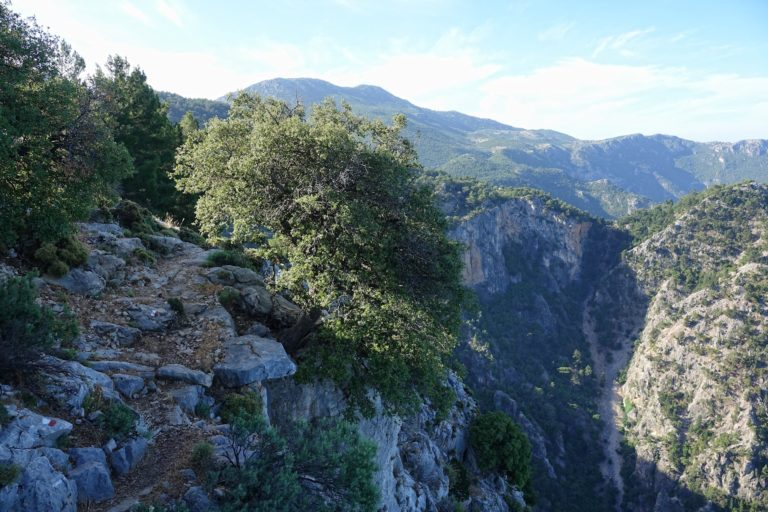 Photo of dangerous trail on the Lycian Way.