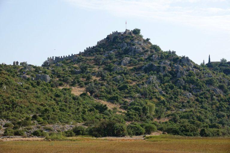 Photo of crusader fortress Simena Kalesi in Kaleköy, Turkey.