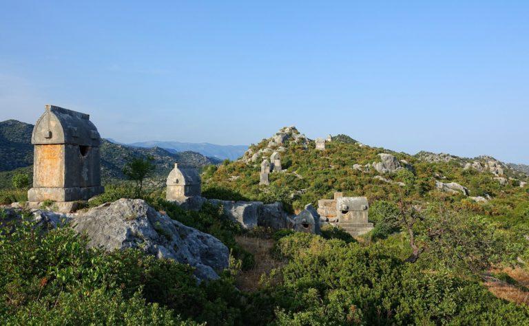 Photo of Lycian tombs in Kaleköy, Turkey.