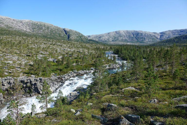 Magnificent mountain river landscape in Lomsdal-Visten National Park.