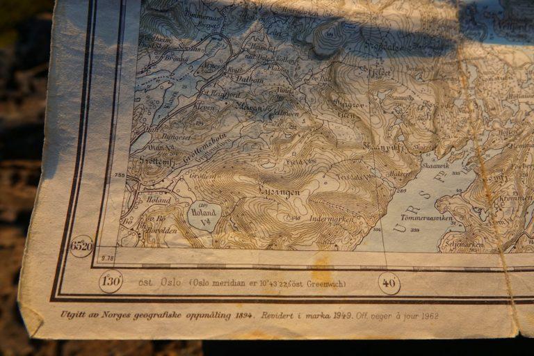 Old map of Brønnøy, Norway.