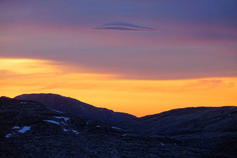 Mountain cloud cap above Lomsdal-Visten National Park.