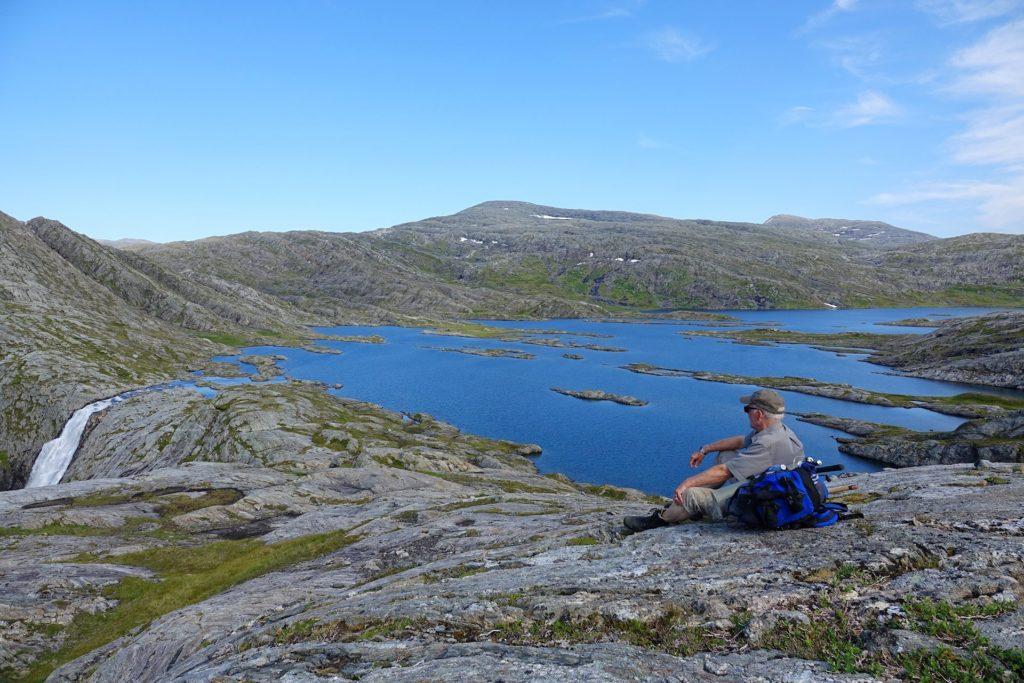 Enjoying the view of lake Elgviddevatnet in Lomsdal-Visten National Park.