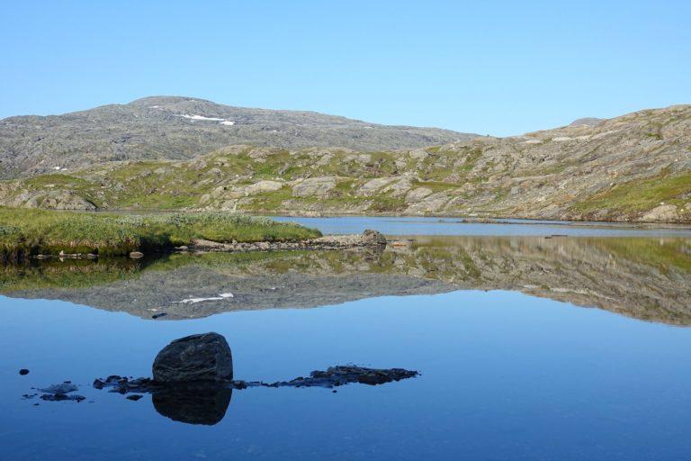 Mirror Lake in Lomsdal-Visten National Park.