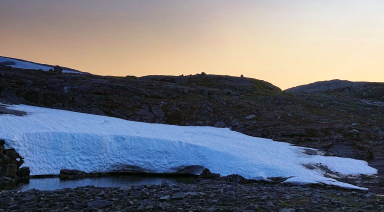 Small glacier at sunset in Lomsdal-Visten National Park, Norway.