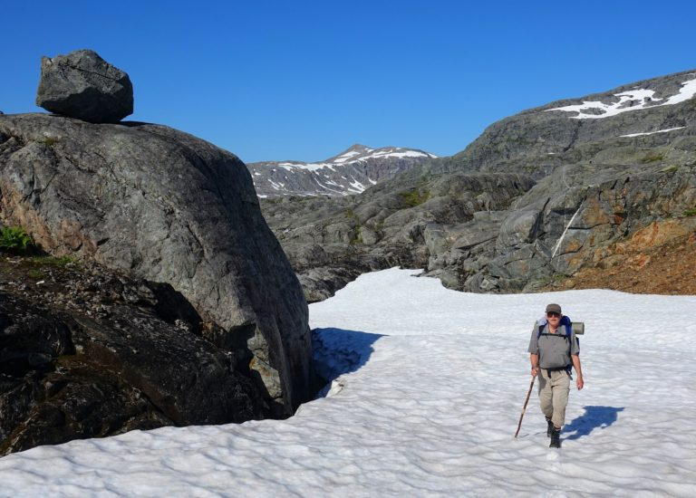 Hiking on snow in Lomsdal-Visten National Park, Norway.