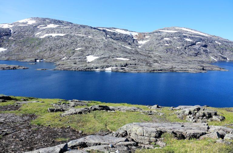 Amazingly blue lake in Lomsdal-Visten National Park.