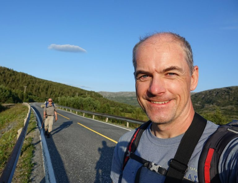 Hikers happy to have completed an incredible trip through Lomsdal-Visten National Park, Norway.
