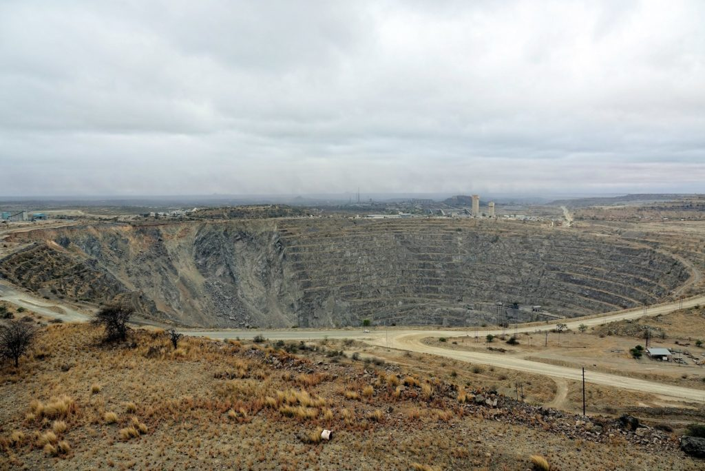 Photo of the Palabora open pit mine in Phalaborwa, South Africa.