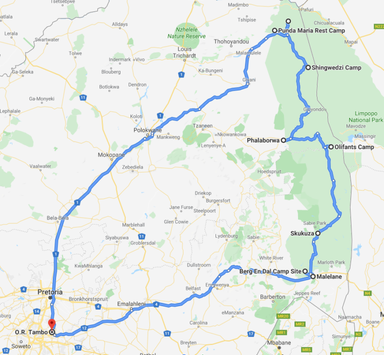 Route showing a self-drive safari from Johannesburg through all of Kruger National Park.