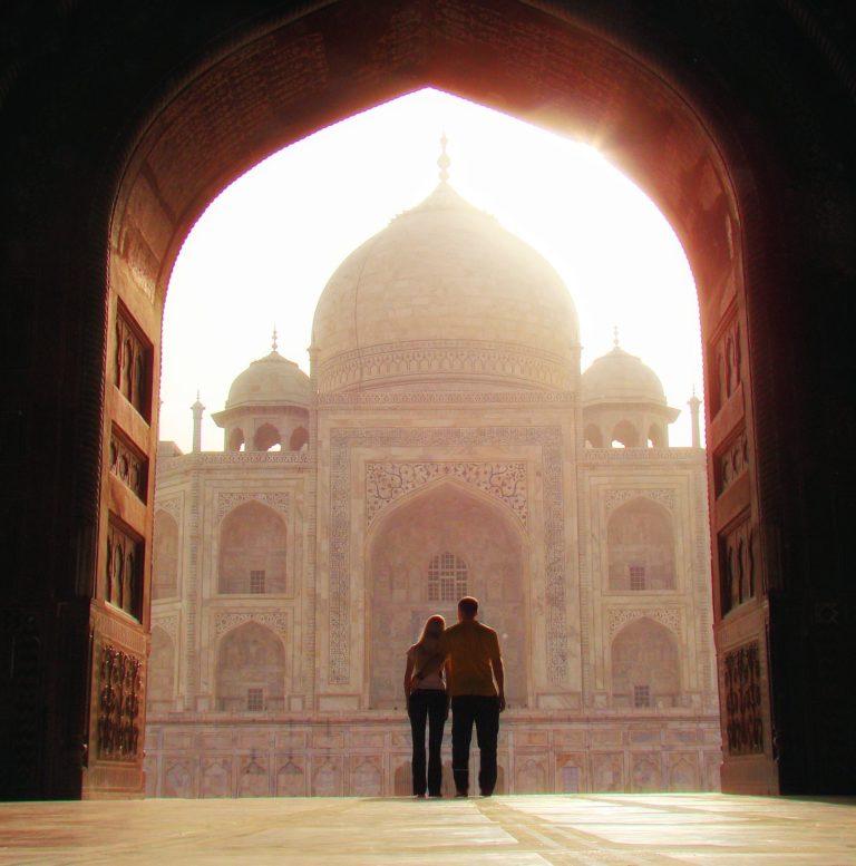 Togetherness at the Taj Mahal in India.