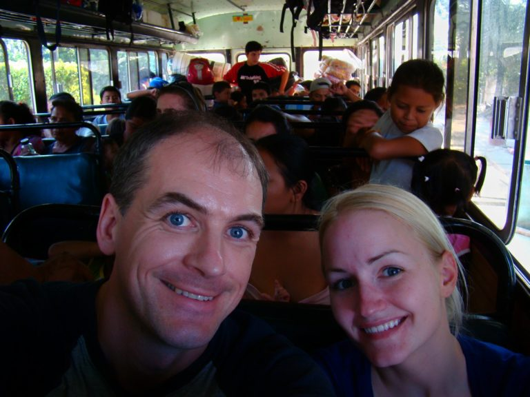 On the chicken bus from Belize to Tikal, Guatemala.