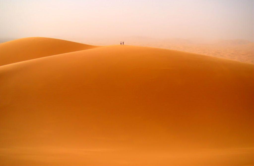 Photo of the giant dunes of Erg Chebbi near Merzouga, Morocco.