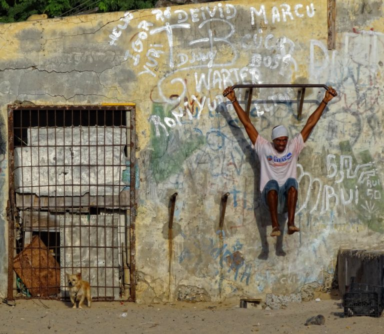 Photo of man working out at a very basic training facility on Boa Vista, Cape Verde.