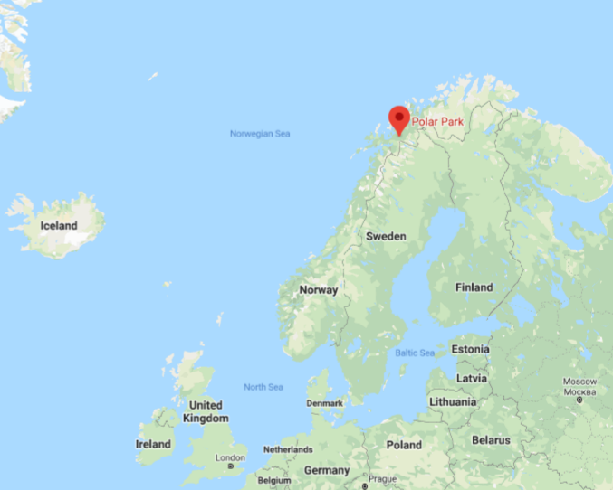 Map showing location of Polar Park