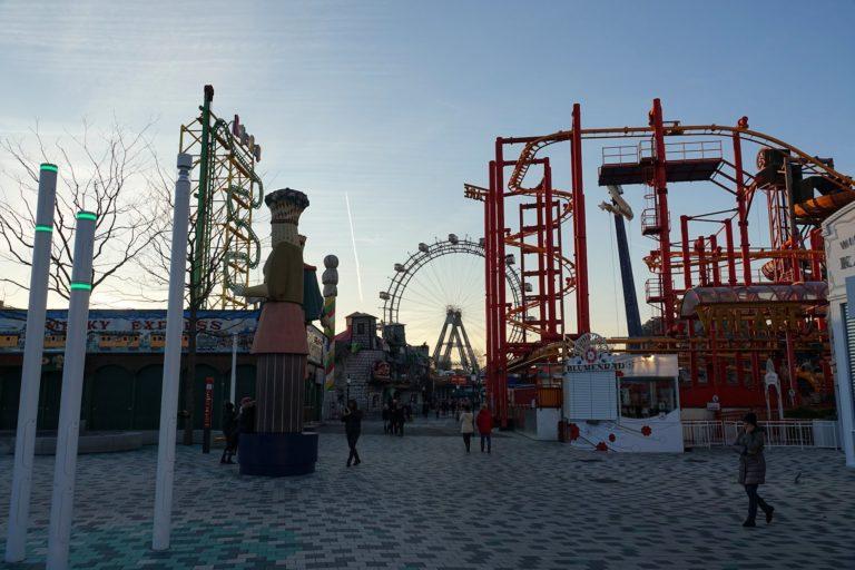 Photo of Wurstelprater amusement park in Vienna, Austria.