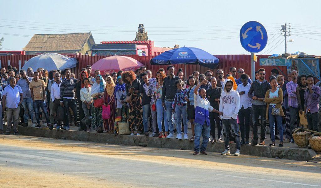 Photo of bus queue in Addis Ababa, Ethiopia