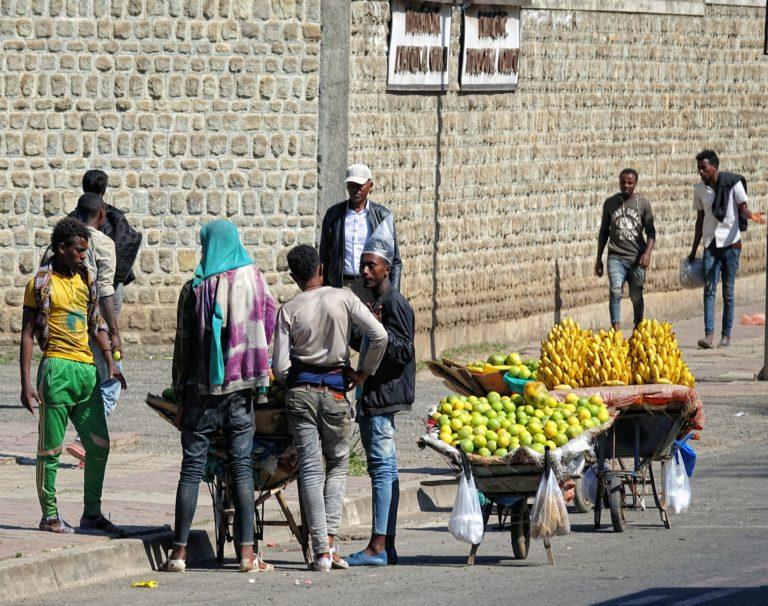 Photo of banana salesman in Addis Ababa, Ethiopia