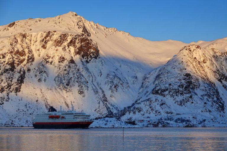 Photo of Hurtigruten in Raftsundet, Lofoten during winter
