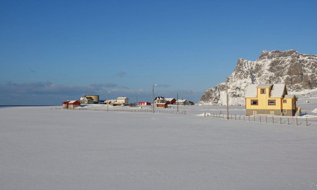 Photo of houses in Uttakleiv in Lofoten, Norway