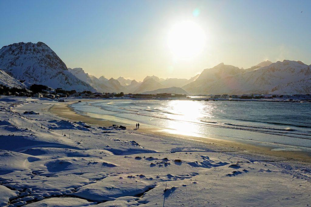 Photo of white sandy Ramberg beach in winter Norway