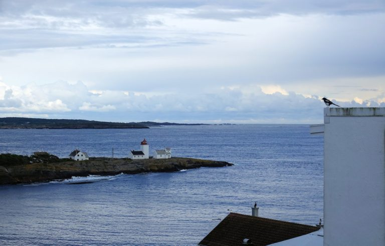 Photo of a lighthouse in Langesund, Norway.