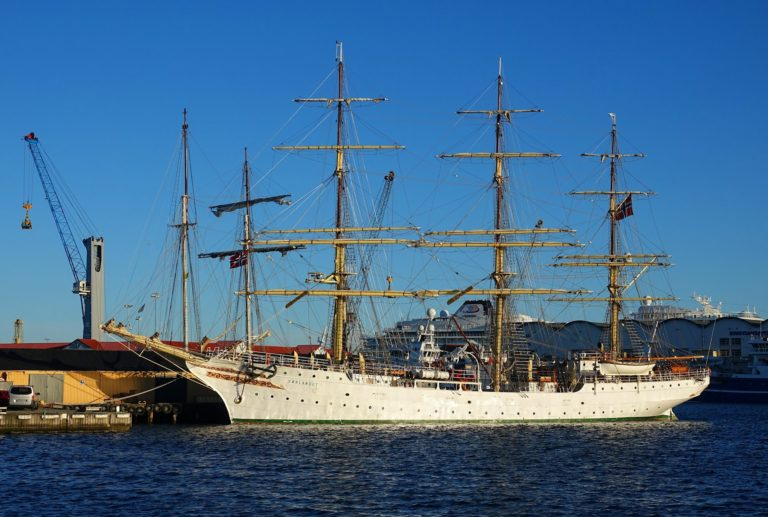 Photo of sailing ship Sørlandet at port in Kristiansand, Norway.