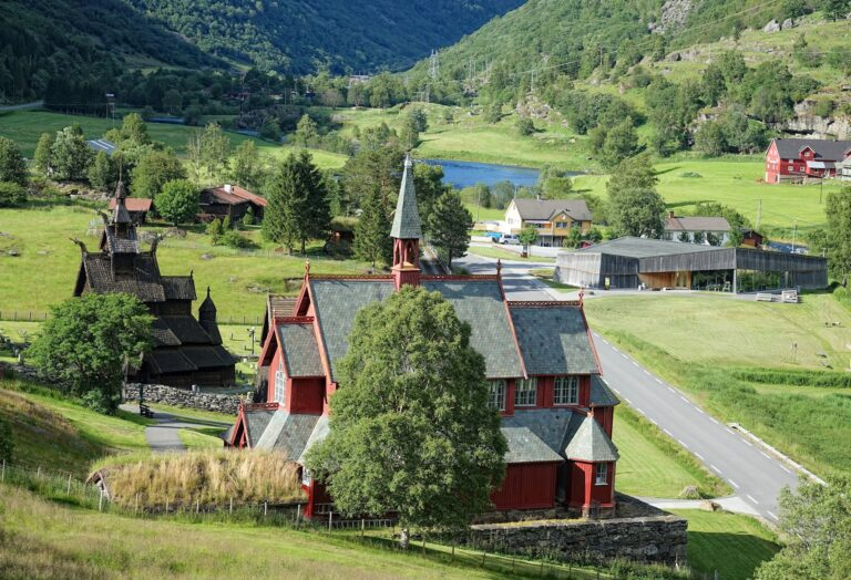 Photo of Borgund stave church and the new church, next to the museum.