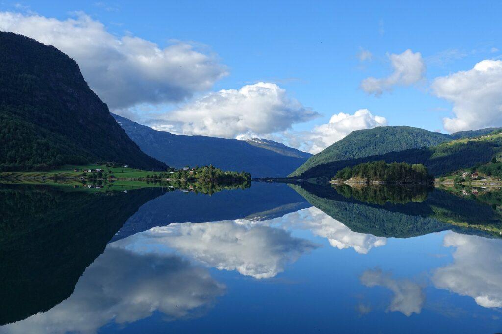 Photo of Barnesfjorden near Sogndal, Norway.