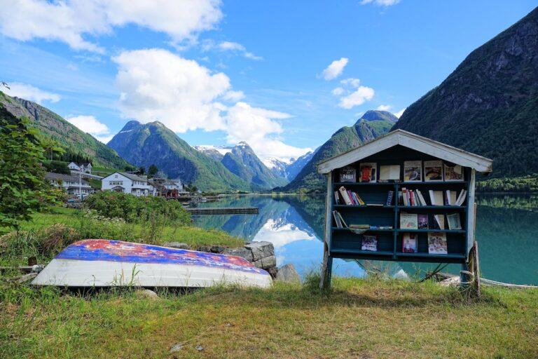 Photo of books by the fjord in Bokbyen Fjærland.