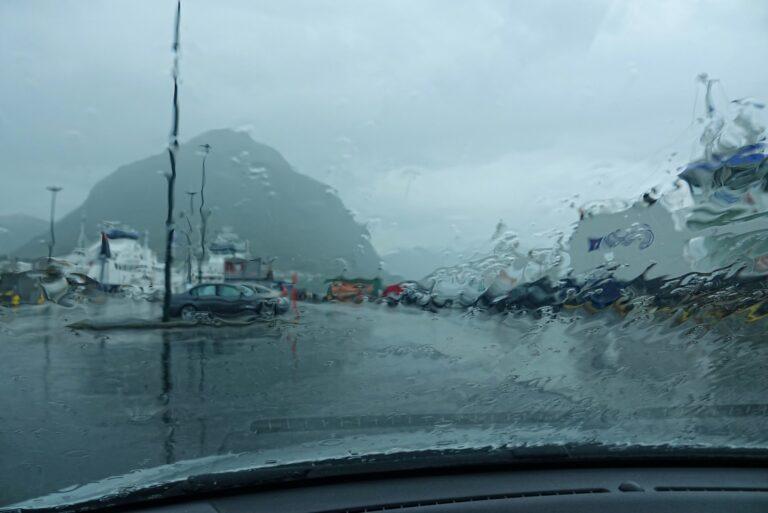 Photo of rainy road trip in Norway.