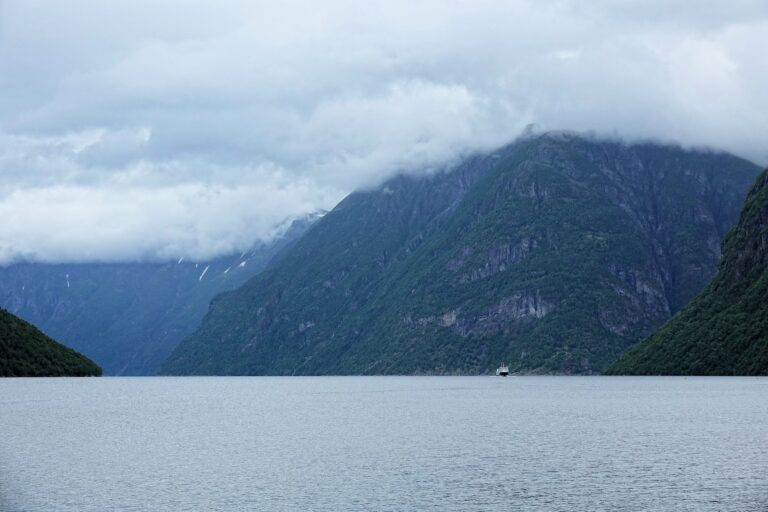 Photo of ferry from Hellesylt to Geiranger, Norway.
