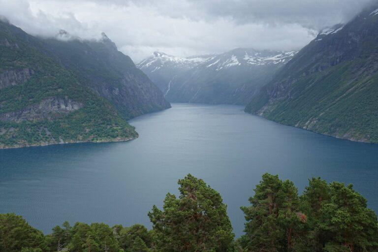 Photo of Geirangerfjorden on a rainy day.