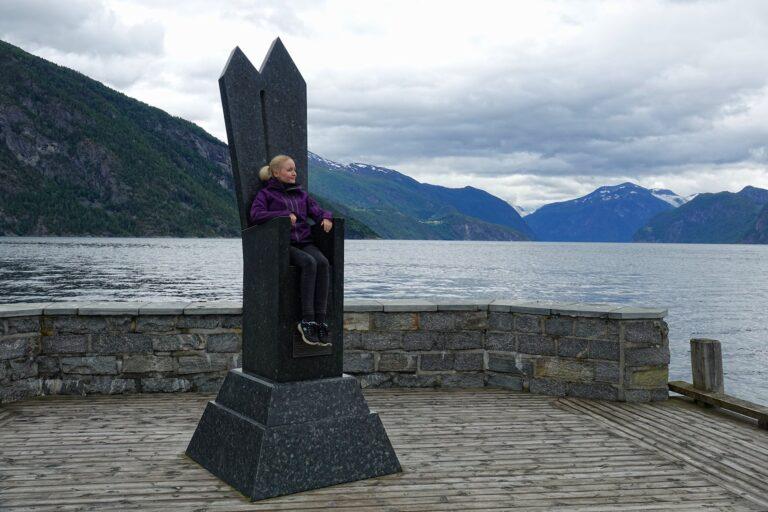 Photo of the furniture memorial/throne in Stranda, Norway.