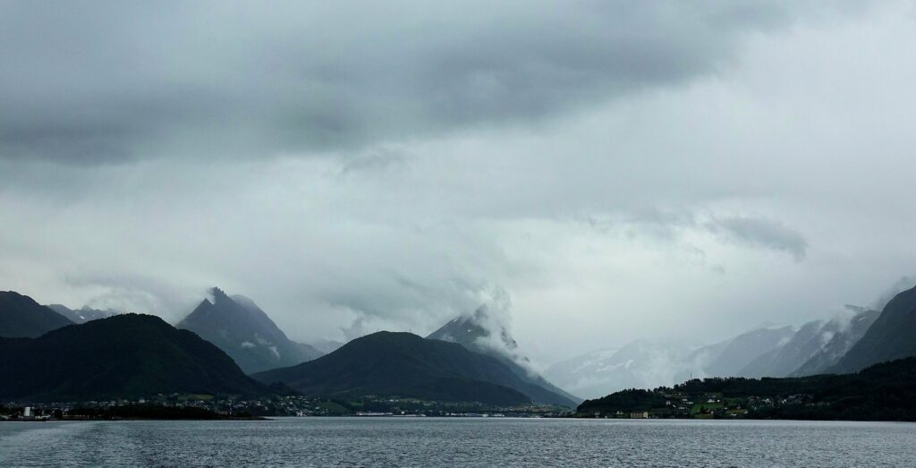 Photo of dark clouds above Sykkylven, Norway.