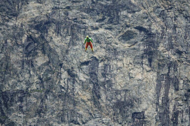 Photo of flying man near Åndalsnes, Norway.