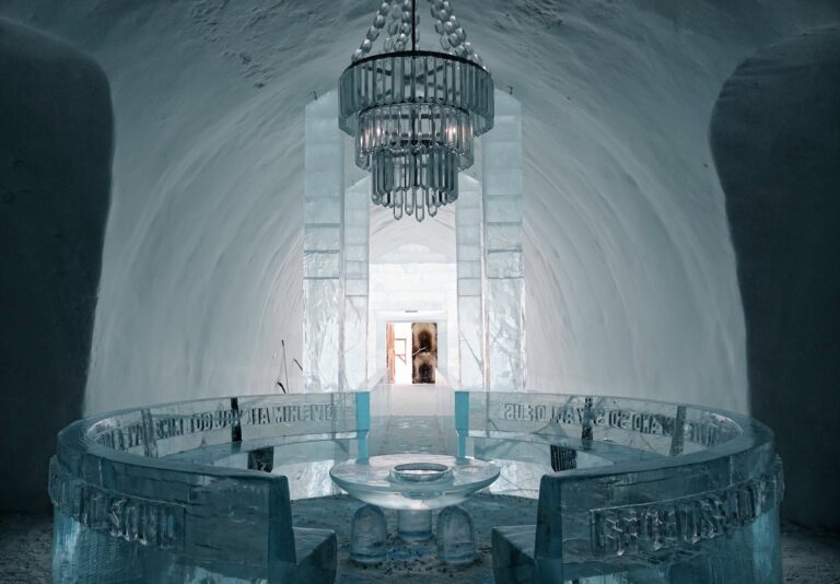 Photo from inside the Icehotel in Jukkasjärvi, Sweden.