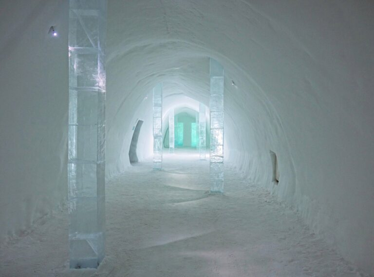 Photo of hotel corridor at the Icehotel in Jukkasjärvi, Sweden.